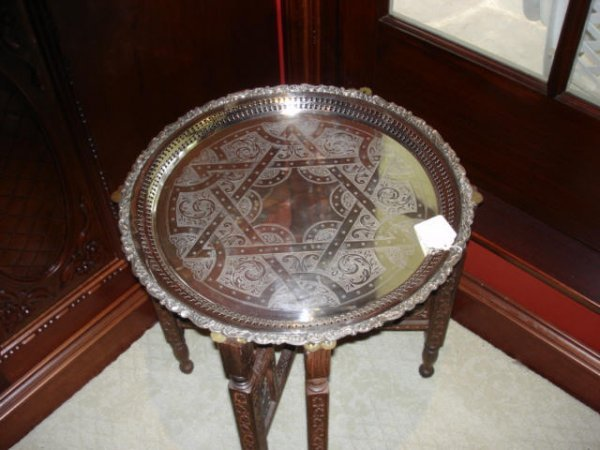 3105: Silver Plate Tray with Star of David on Stand