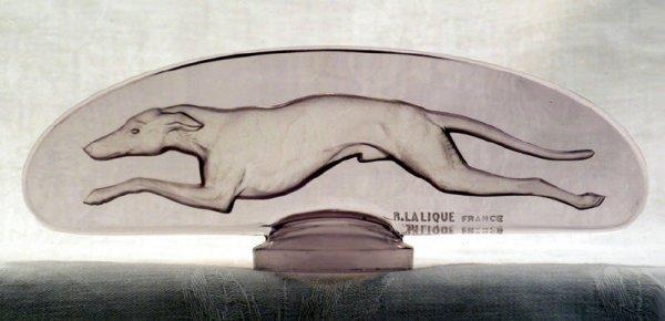 3110: 1928 R Lalique Greyhound Car Mascot in Amethyst