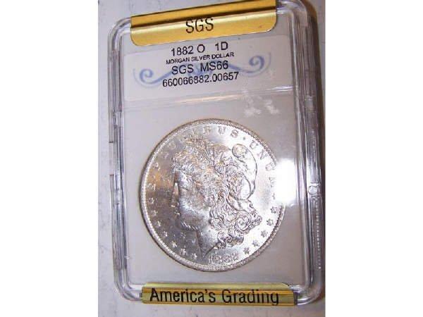 226: 1882 o Morgan Silver Dollar SGS MS66