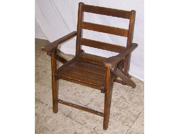 11: 19th Century Oak Childs Fold Up Chair