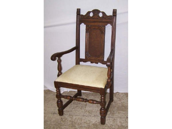 12: Walnut William and Mary Style Chair