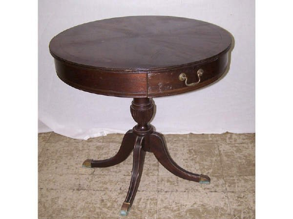 14: Mahogany Drum Table with Drawer
