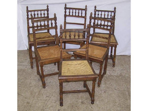 16: 6 French Oak Cane Seat Chairs