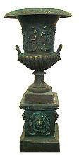 522: Large Casted Iron Urn and Stand
