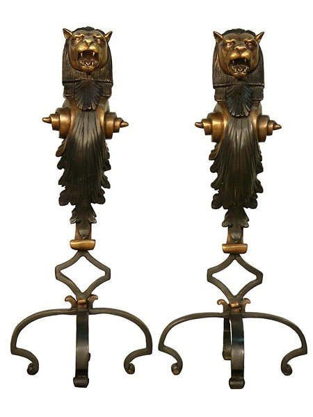 677: pair of Lion Figural Bronze Fire Place Andirons
