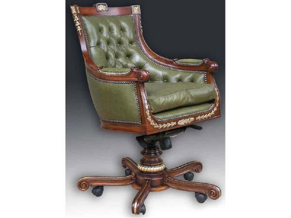 680: Louis XIV Style Leather Executive Chair