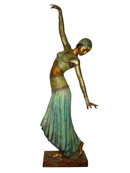 686: Lifesize Art Deco Dancer Bronze
