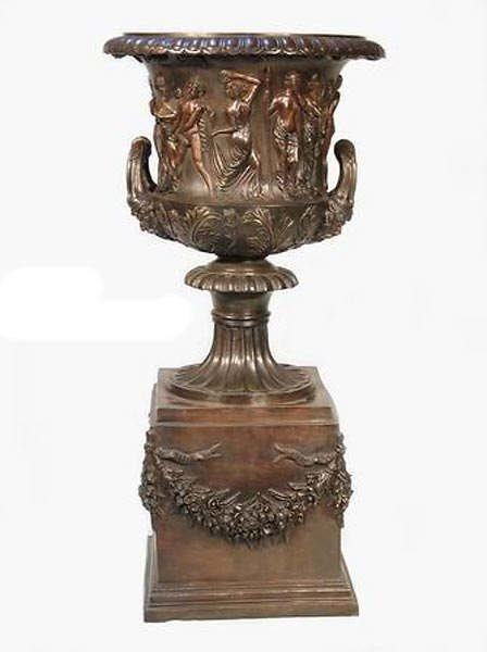 687: LARGE Bronze Urn on Stand