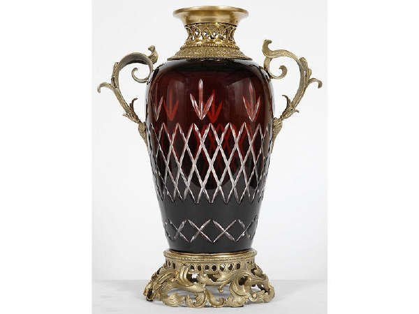 689: Large Hand Cut Ruby Red Vase with Bronze Mounts