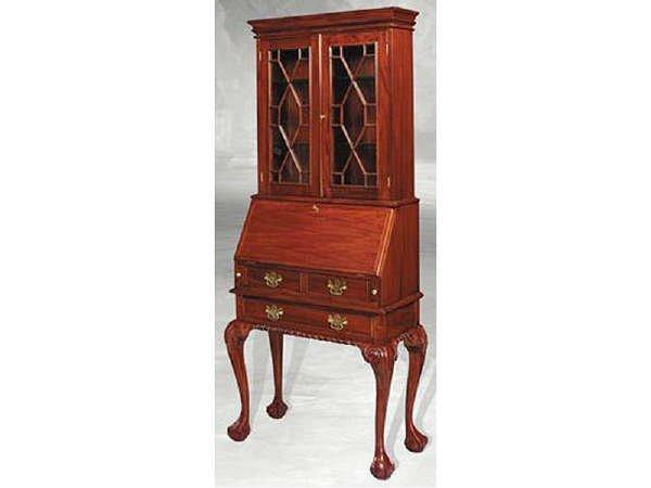 690: Hand Carved Mahogany Bookcase Secretary