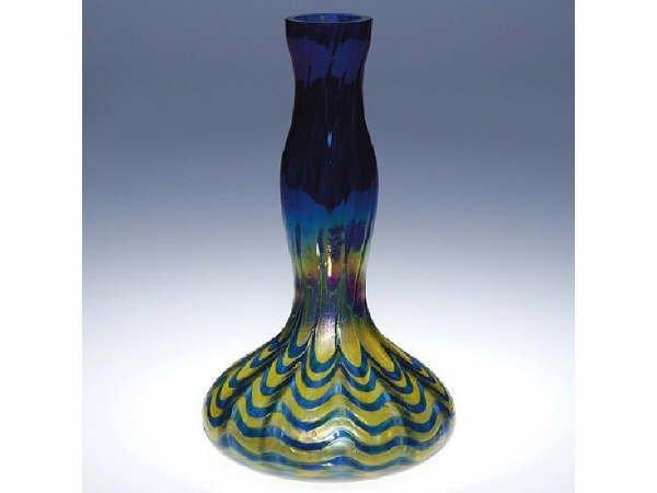 696: Loetz Rindskopf Blue Art Glass Vase
