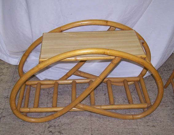 827: Vintage Bamboo Table and Oak Chair