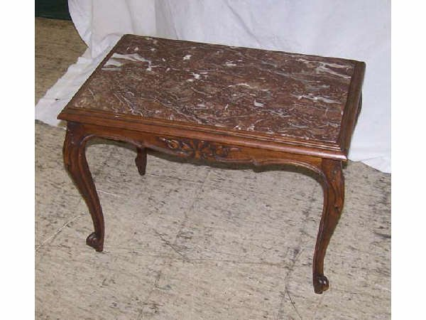 828: French Walnut Marble Inset Table