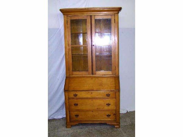 830: Period Pine Dropfront Secretary Bookcase