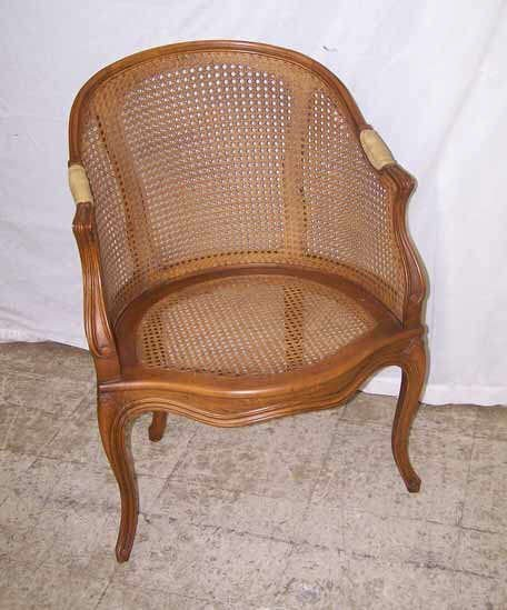 832: Antique Caned Barrel Chair
