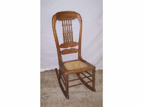 833: Victorian Oak Pressback Rocking Chair