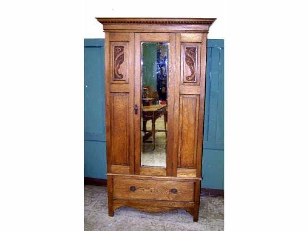837: Oak Mirrored Door Armoire
