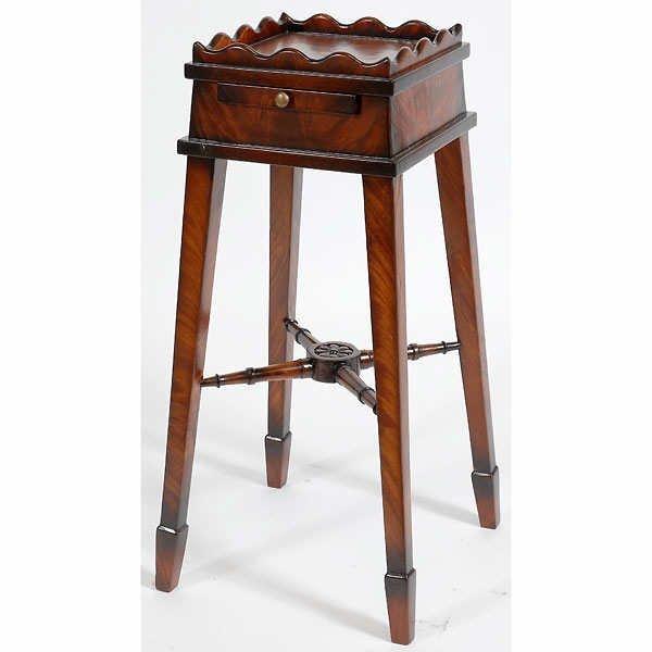 1501: Fine Hand Carved Ribbon Mahogany Telephone Stand