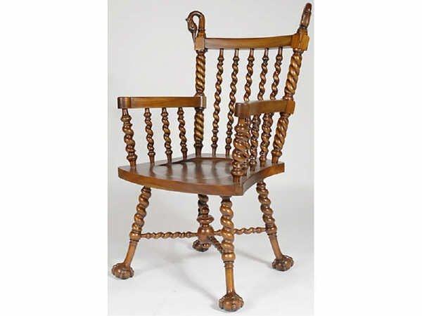 1505: Twist Carved Merklen Bros. Swan Chair