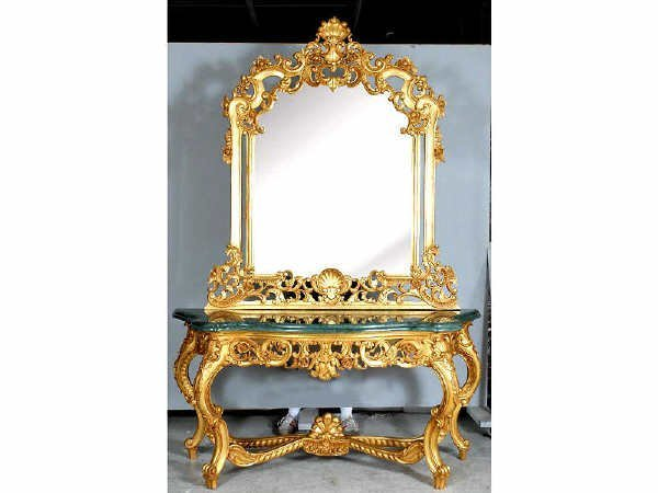 1508: Gilt Wood French Marbletop Console and Mirror