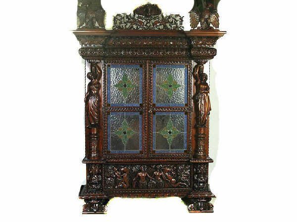 1509: Fabulous Heavy Carved Figural Cabinet