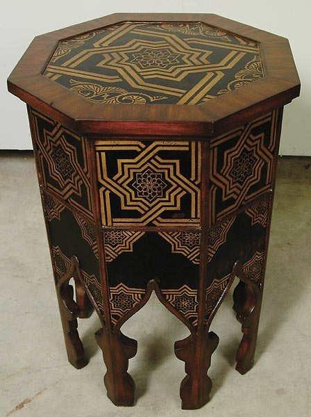 1514: Octagon Mahogany Boulle Inlay Table