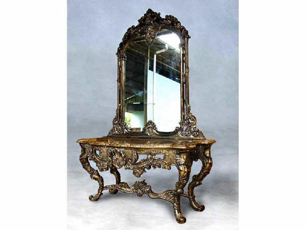 1517: Fabulous Heavy Gilt Console with Mirror