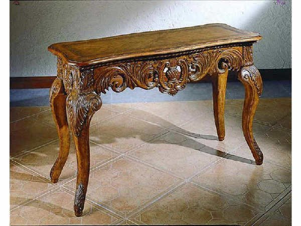 1522: Fine Burled Walnut Fancy Carved Console Table
