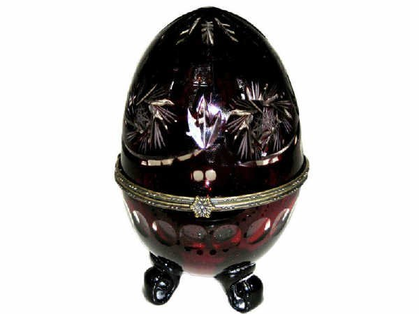 502: Amethyst Glass Decorator Egg on Stand