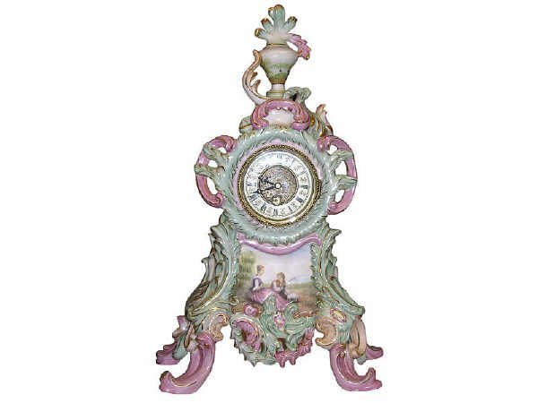 505: Hand Painted Porcelain Scenic Clock