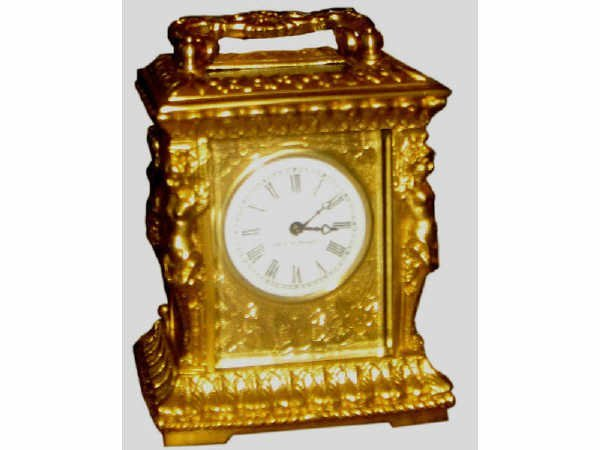 507: Polished Brass Figural Carriage Clock