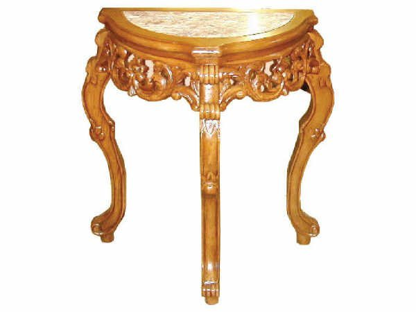 510: Half Round Marble Inset Heavy Carved Table
