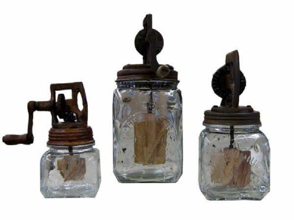 511: Lot of Marked Dazey Wooden Paddle Churns