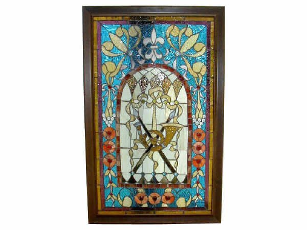 514: French Stained Glass Fleur De Leis Panel