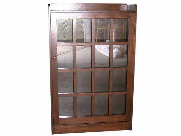 518: Oak Multi Pane Single Door Bookcase