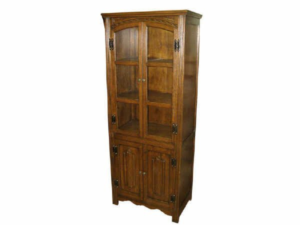 522: Oak Mission Style 4 Door China Cabinet