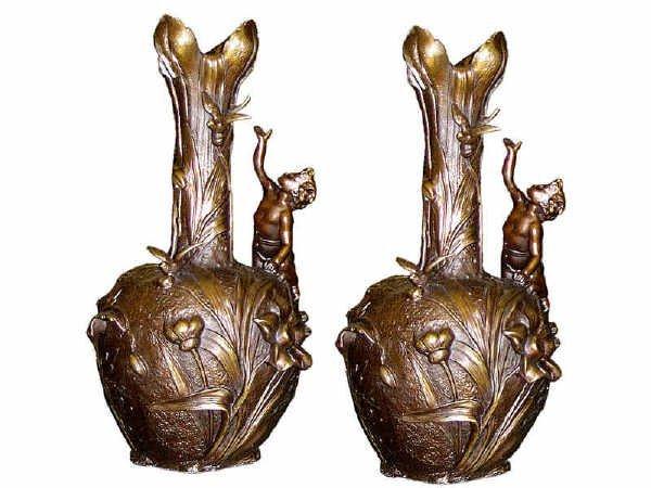 544: Figural Art Nouveau Vases in Bronze