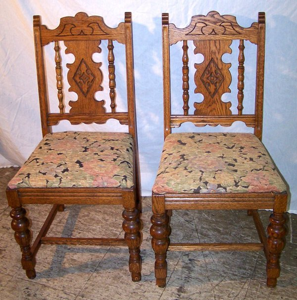 4: Pair of Oak  Side Chairs