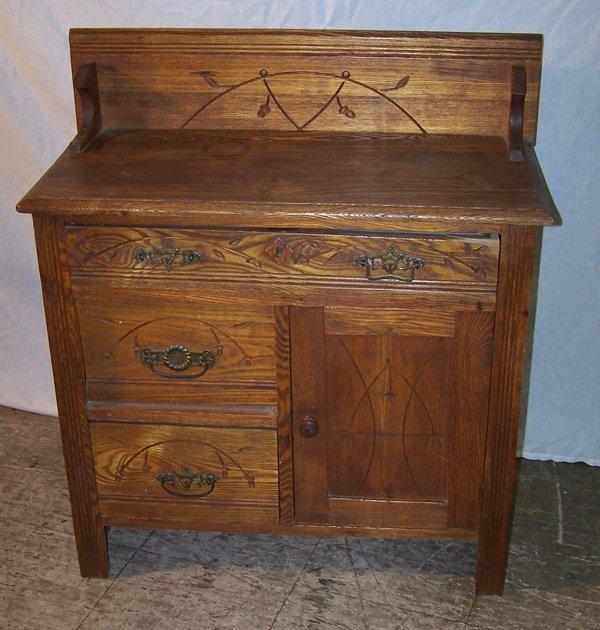 7: Eastlake Victorian Oak Washstand