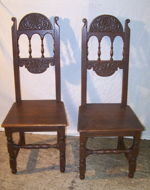 13: A Good Pair of Oak Carved Hall Chairs