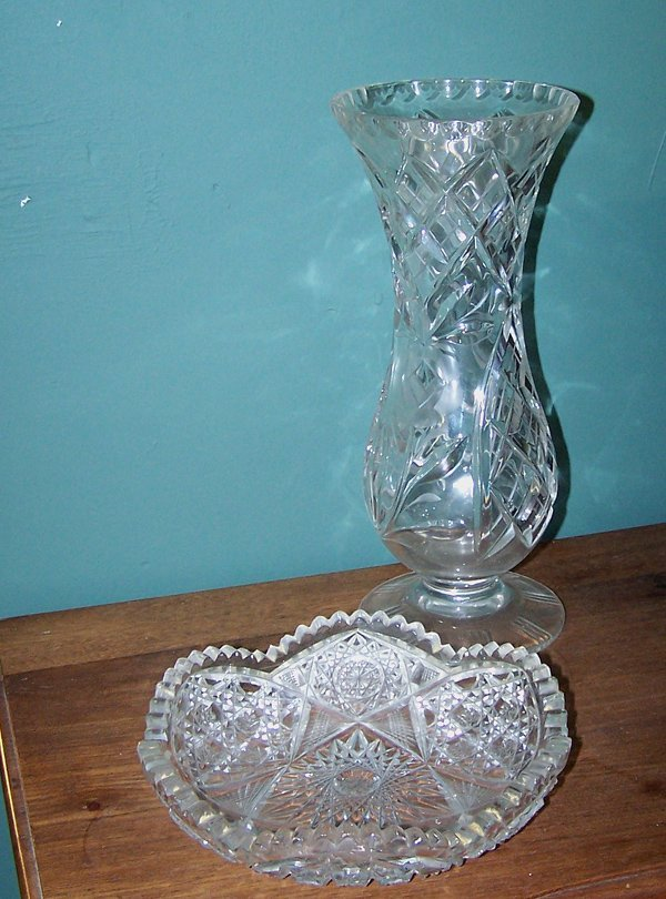 20: CUT GLASS VASE AND BOWL LOT