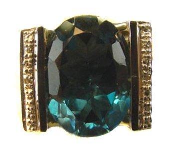1001: 14K yg PARAIBA AND DIAMOND RING