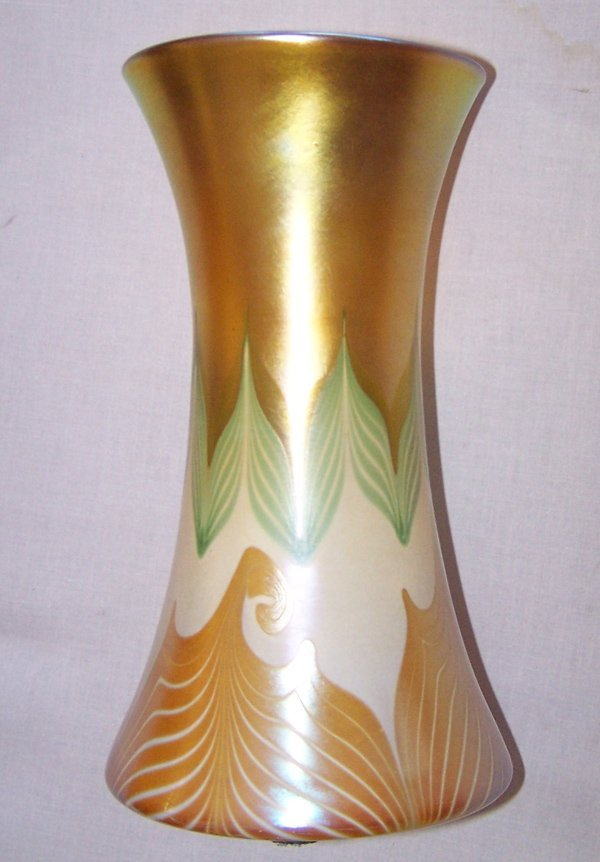 1203: Large Quezal Pulled Feather Decorated Vase