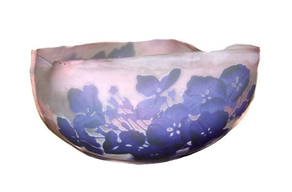 1209: Rare Double Decorated Galle Freeform Bowl
