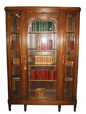 1212: Fancy Walnut French Bookcase Cabinet