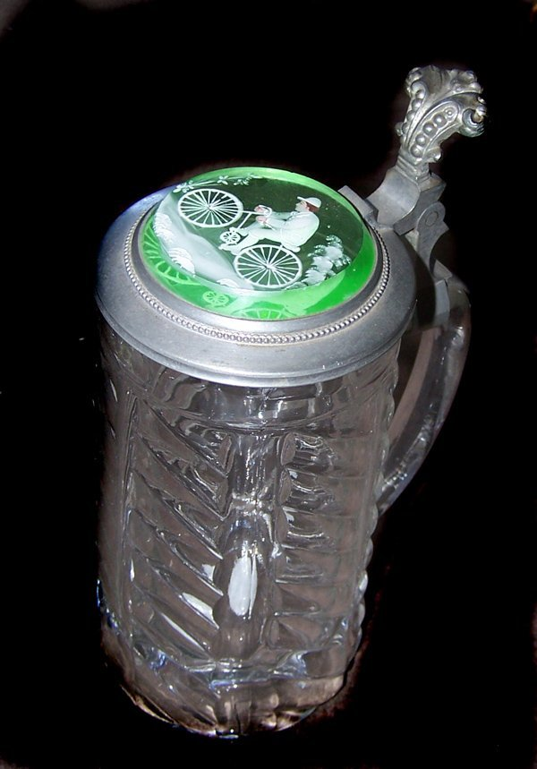 1223: RARE Green Mary Gregory BICYCLE Stein