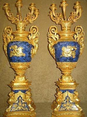 1411: Fine Dore Bronze and Lapis Candleabra