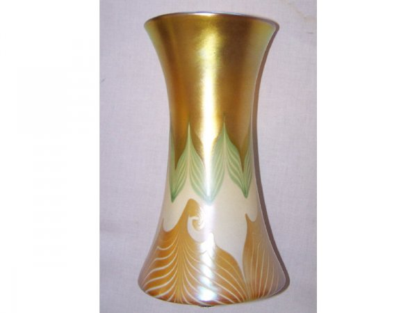 2: Large Quezal Pulled Feather Decorated Vase