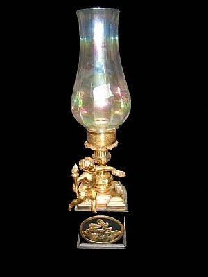 13: Fine Dore Bronze Figural Cherub Oil Lamp