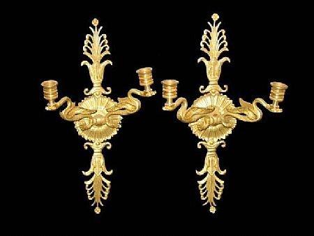15: Fine Dore Bronze Dragon Figural Wall Sconces